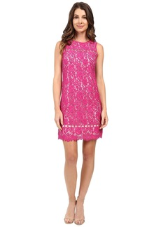 Adrianna Papell Lace Shift with Ladder Trim Details