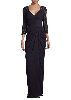 Adrianna Papell Lace Sleeve Floor-Length Gown