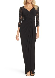 Adrianna Papell Lace Sleeve Gathered Gown (Regular & Petite)