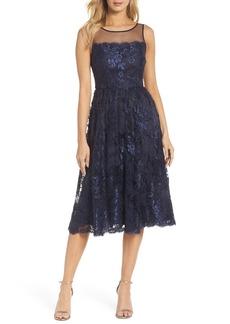 Adrianna Papell Lace Tea Length Dress (Regular & Petite)