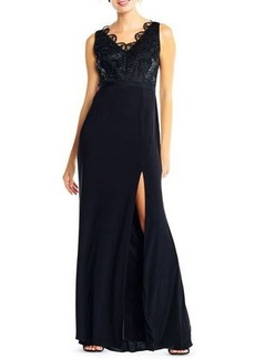 Adrianna Papell Lace-Top V-Neck Evening Gown