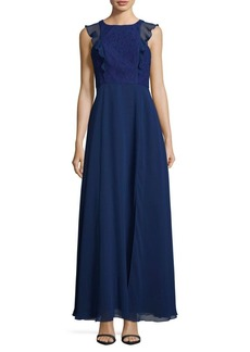 Adrianna Papell Lace-Trimmed Gown