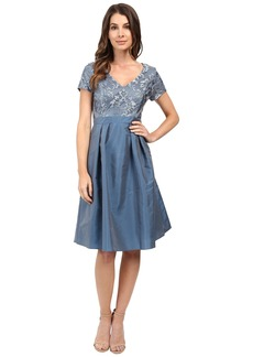Adrianna Papell Lace V-Neck with Pleated Skirt