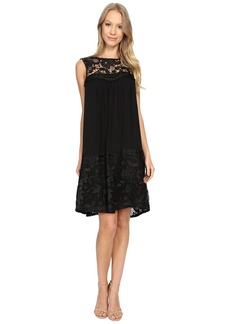 Adrianna Papell Lace Yoke Soft Dress w/ Shirring