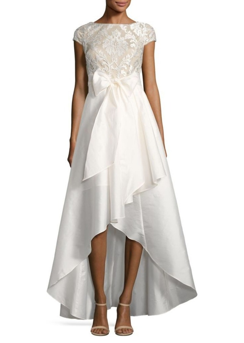 Adrianna Papell Adrianna Papell Laced Emblem High-Low Ball Gown ...
