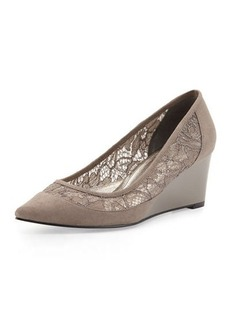 Adrianna Papell Langley Suede Lace Wedge Pump