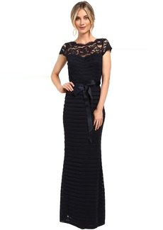 Adrianna Papell Large Tucked Stretch Tulle Gown