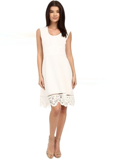 Adrianna Papell Laser-Cut Scalloped Hem Dress