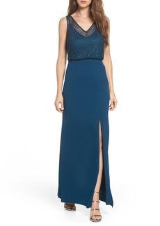 Adrianna Papell Lattice Beaded Bodice Gown (Regular & Petite)
