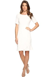 Adrianna Papell Line Bateaux Neckline Sheath Dress with Wrapped Skirt Detail