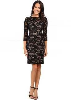 Adrianna Papell Lined Carol Lace Sheath Dress with Jeweled Neckline
