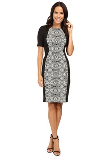 Adrianna Papell Lined Geo Bonded Lace Sheath Dress