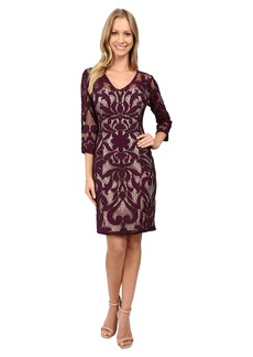 Adrianna Papell Lined Two-Tone Art Deco Lace Sheath Dress with V-Necklin