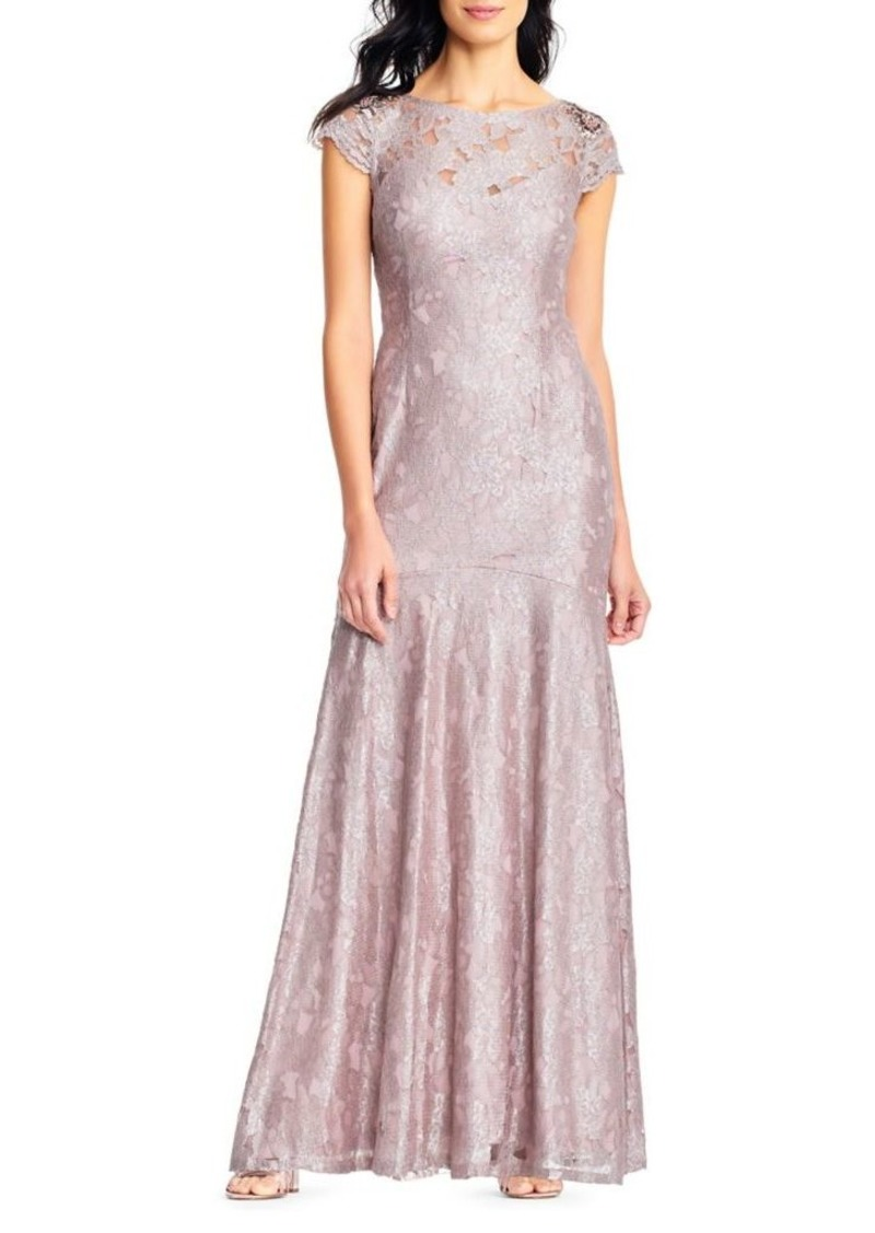 On Sale today! Adrianna Papell Adrianna Papell Long Metallic Lace ...