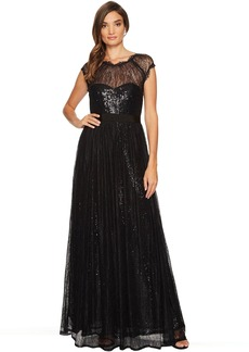 Adrianna Papell Long Sequin Gown with Chantilly Lace Overlay
