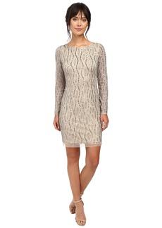 Adrianna Papell Long Sleeve Beaded Cocktail Dress