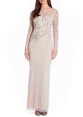 Adrianna Papell Long Sleeve Beaded Column Gown