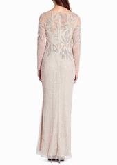 Adrianna Papell Long Sleeve Beaded Column Gown