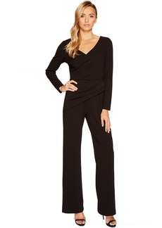 Adrianna Papell Long Sleeve Crepe Knit V-Neck Jumpsuit