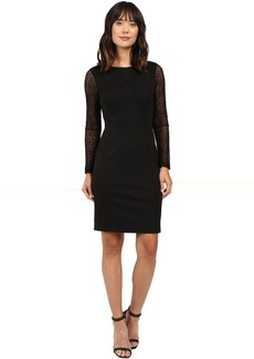 Adrianna Papell Long Sleeve Lace Detail Fit Dress
