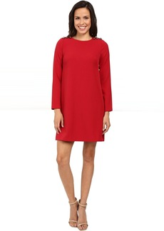 Adrianna Papell Long Sleeve Shift Dress with Button Close Detail