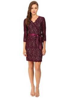 Adrianna Papell Long Sleeve Wrap Front Lace Cocktail Dress