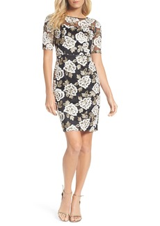 Adrianna Papell Madelin Embroidered Sheath Dress (Regular & Petite)