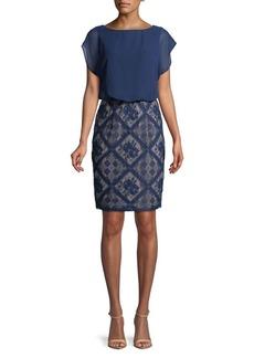 Adrianna Papell Matte Jersey & Diamond Lace Blouson Dress
