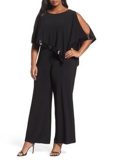 Adrianna Papell Matte Jersey Capelet Jumpsuit (Plus Size)