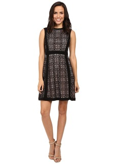 Adrianna Papell Medallion Geo Lace Blocked Fit and Flare Dress