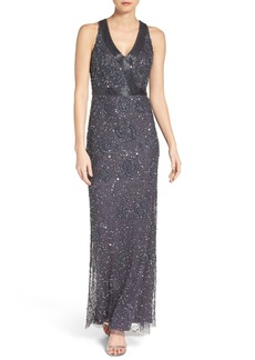 Adrianna Papell Mesh Column Gown