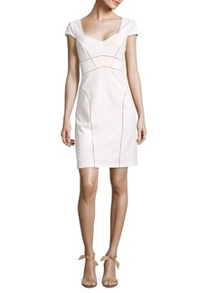 Adrianna Papell Mesh-Trimmed Sheath Dress