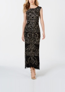 Adrianna Papell Metallic Beaded Gown