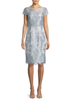 Adrianna Papell Metallic Embroidered Knee-Length Dress