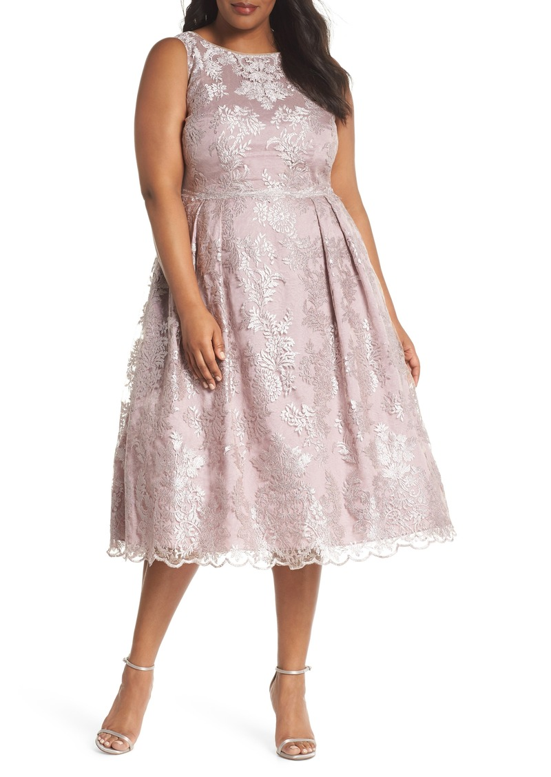 SALE! Adrianna Papell Adrianna Papell Metallic Embroidered Tea Length Dress  (Plus Size)
