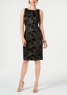 Adrianna Papell Metallic-Embroidered Velvet Dress