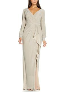 Adrianna Papell Metallic Faux-Wrap Gown