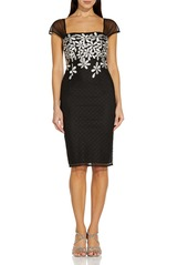 Adrianna Papell Metallic Floral Embroidered Cocktail Sheath Dress