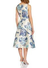 Adrianna Papell Metallic Floral Jacquard Sleeveless Fit & Flare Cocktail Midi Dress