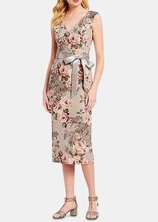 Adrianna Papell Metallic Floral-Print A-Line Dress