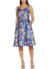 Adrianna Papell Metallic Floral-Print Jacquard Dress