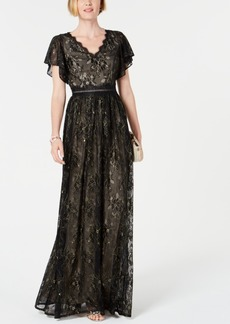 Adrianna Papell Metallic Lace Gown