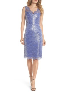 Adrianna Papell Metallic Lace Sheath Dress (Regular & Petite)