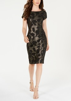 Adrianna Papell Metallic Leaf Sheath Dress