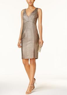 Adrianna Papell Metallic Ottoman-Stitch Sheath Dress