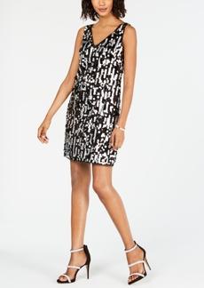 Adrianna Papell Metallic Sequin Shift Dress