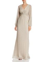 Adrianna Papell Metallic Twist-Front Gown