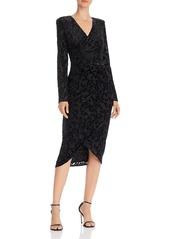 Adrianna Papell Metallic Velvet Faux-Wrap Dress