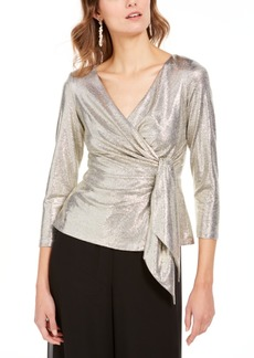 Adrianna Papell Metallic Wrap Top