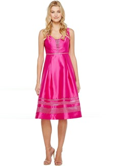 Adrianna Papell Mikado and Lace Cocktail Dress